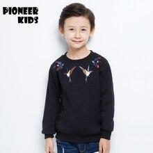 Pioneer Дети 2016 Новые мальчики хлопок зимние sweatershirts круглым воротом животный печати мальчики балахон одежда сгущаться зимние одежды