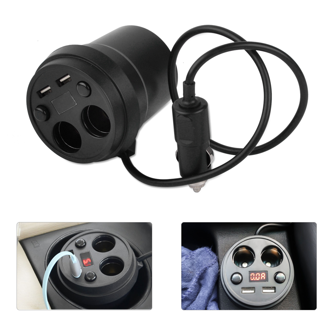 CITALL Voiture 2 Socket Allume-cigare Double USB Tension Puissance Chargeur Adaptateur tasse LED Affichage pour Ford Focus Audi A4 A6 Mazda 3 6