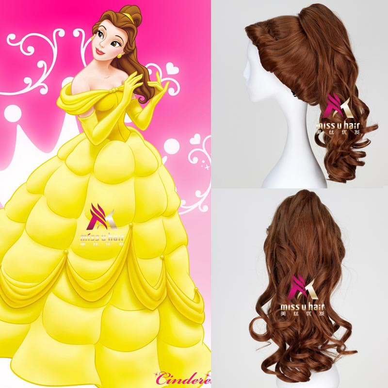 Movie Belle Beauty And The Beast Natural Long Body Wave Clip Ponytail Brown Princess Synthetic Cosplay Wig For Halloween Party