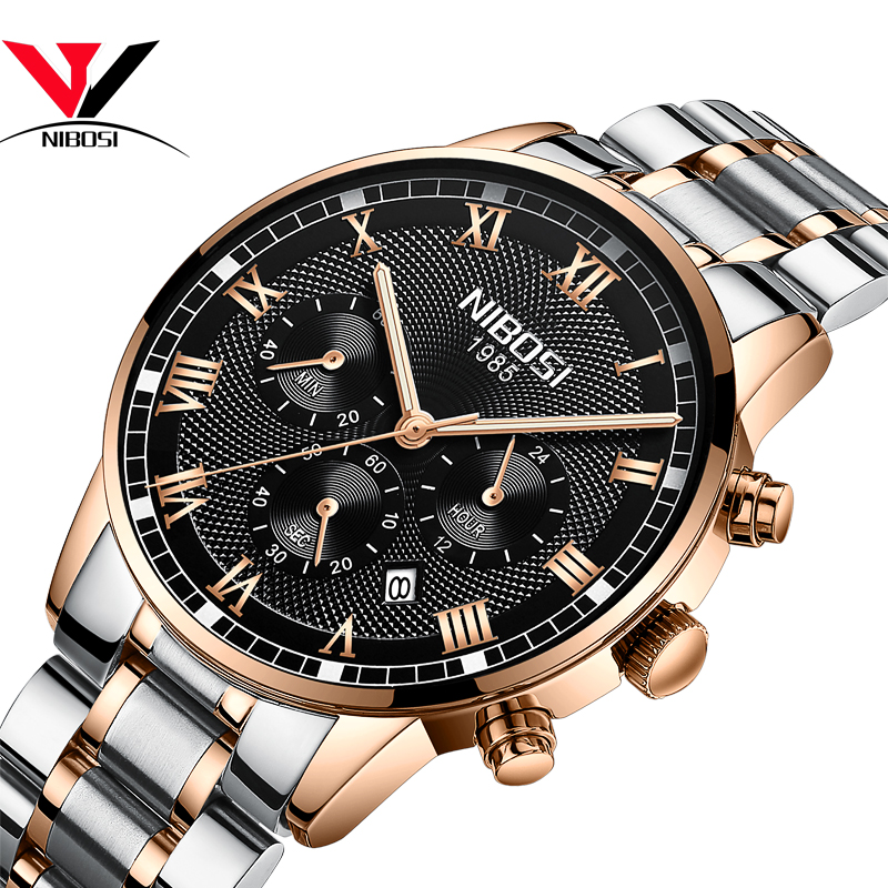 NIBOSI Mens Sport Watches Men Waterproof Luxury Brand Watch 2019 Fashion Full Steel Analog Quartz Wristwatch Relogio Masculino