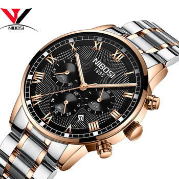 цена на NIBOSI Mens Sport Watches Men Waterproof Luxury Brand Watch 2019 Fashion Full Steel Analog Quartz Wristwatch Relogio Masculino