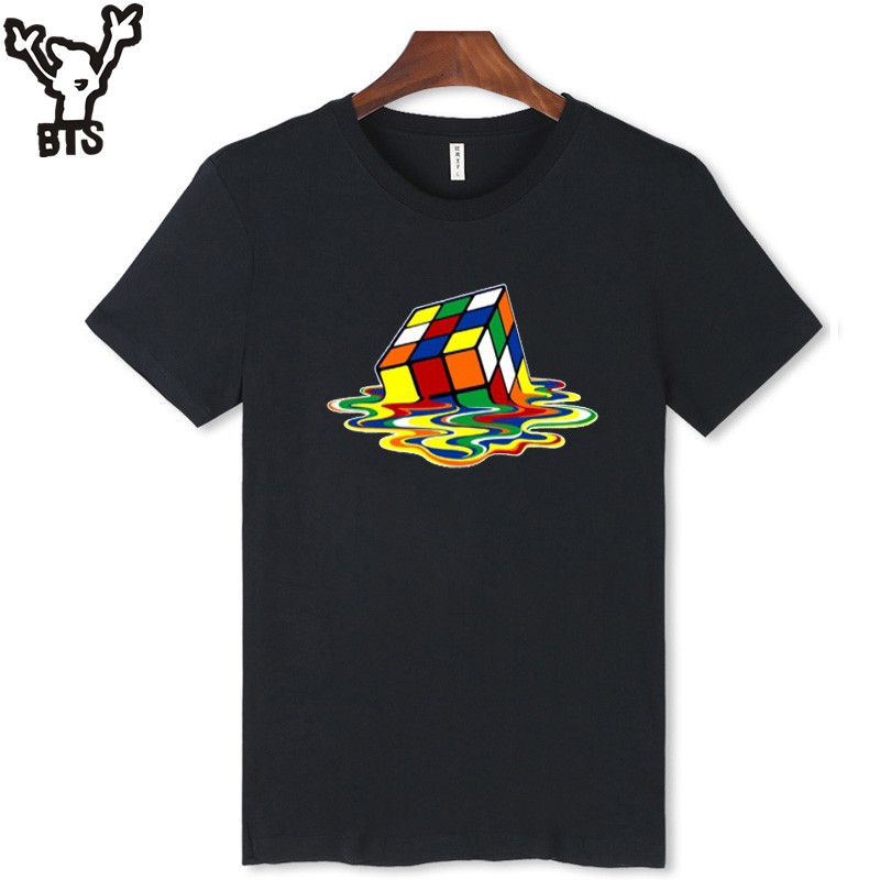 BTS New Arrival Melted Cube Design Black and White T-Shirt Men Short Sleeve with Famous Brand T Shirt Men 2016 Cotton Tees 4xl