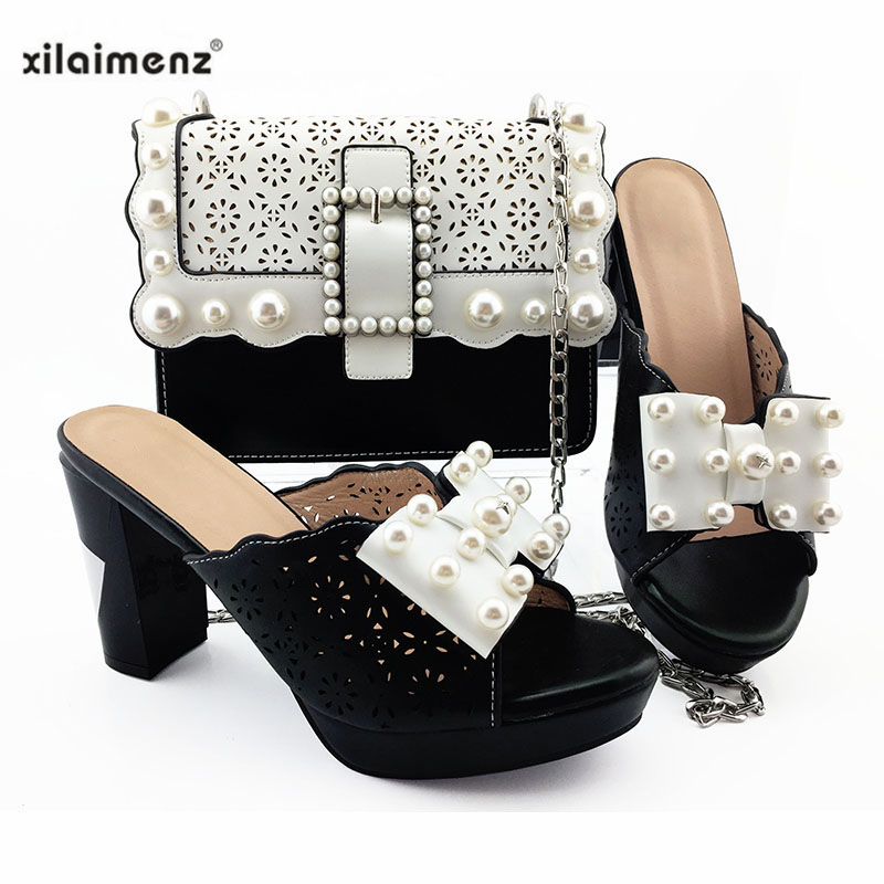 2019 Black High Quality Pu Leather African Special Arrivals Shoes And Bag Set Nigerian Women Matching