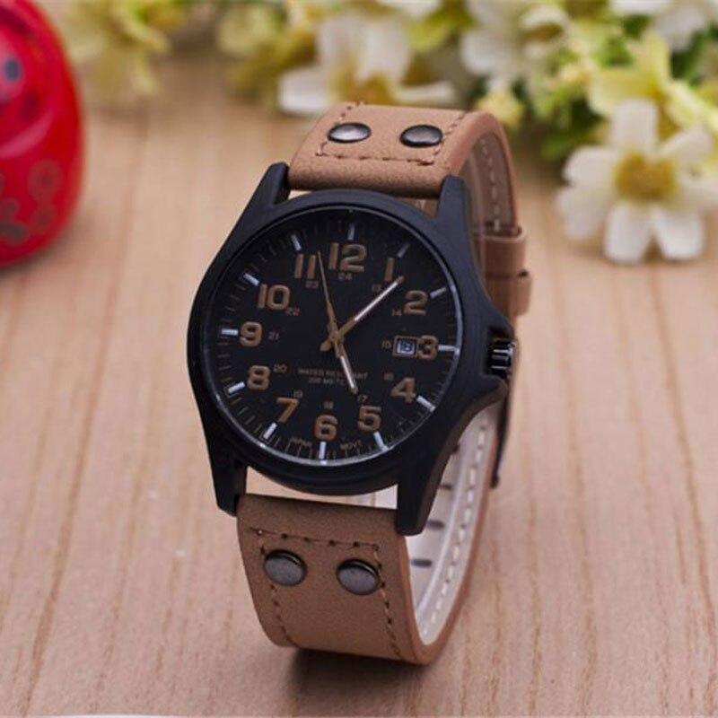 New Fashion Brand Sport Running Military Leather Quartz Watch Wristwatches Gift for Men Male Boy Black