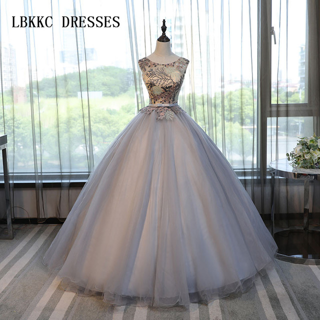 c055a345e5d Grey Princess Quinceanera Dresses Tulle With Lace Ball Gown Girls  Masquerade Sweet 16 Dresses Ball Gowns Vestidos De 15 Anos