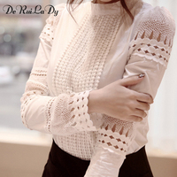 DeRuiLaDy Women Sexy Lace Blouse Shirt Casual Tops Long Sleeve White Blouse Female Stand Hollow Out