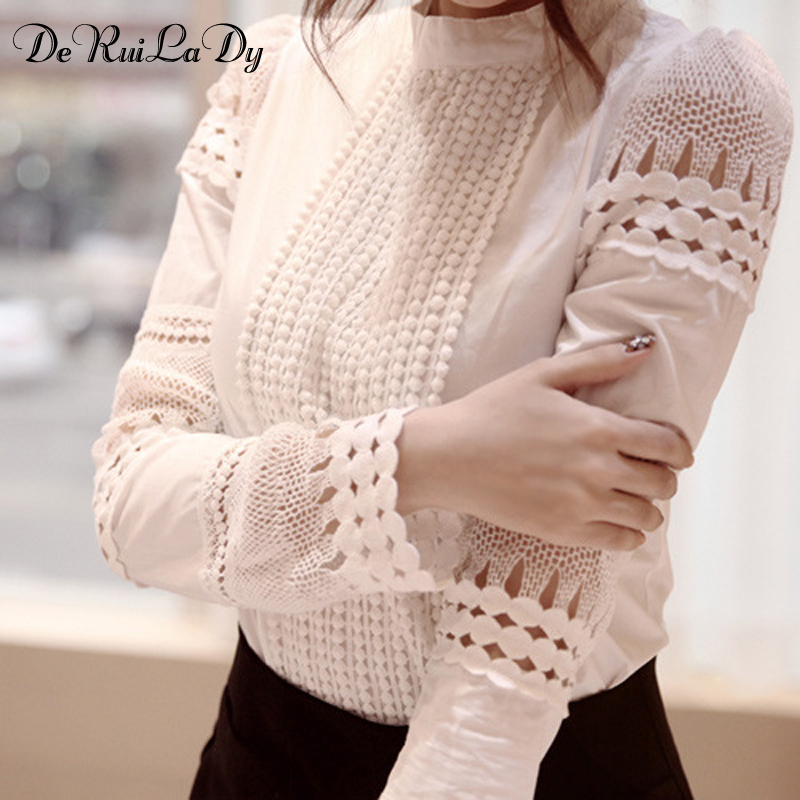 DeRuiLaDy Women Sexy Lace Blouse Shirt Casual Tops Long Sleeve White Blouse Female Stand Hollow Out Elegant Blouses Camisa 2018