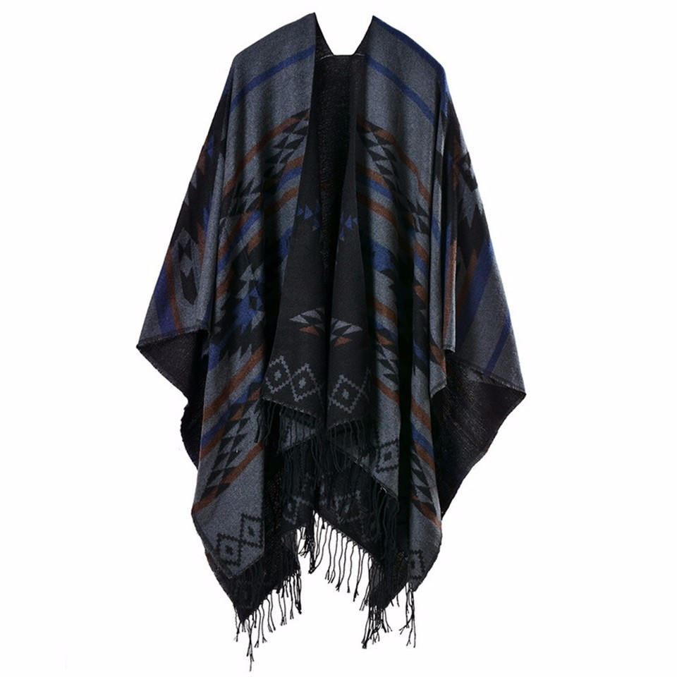 Bohemian Poncho Women's Autumn Winter Ethnic Scarf Fashion Print Blanket carves Lady Knit Shawl Tassel Cape Thicken Pashmina