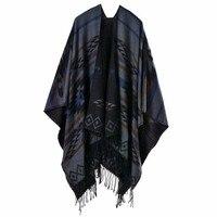 Bohemian Poncho Women's Autumn Winter Ethnic Scarf Fashion Print Blanket carves Lady Knit Shawl Tassel Cape Thicken Pashmina