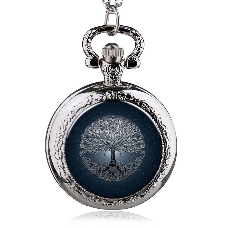 Fashion Style Heart Love Tree Of Life Quartz Pocket Watch Necklace Pendant Women Men Clock Gits