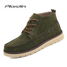 Plardin/новые зимние мужские большие размеры удобные дышащие Теплые Повседневное Кружево-Up для мужчин кожаные туфли модные ботинки Martin