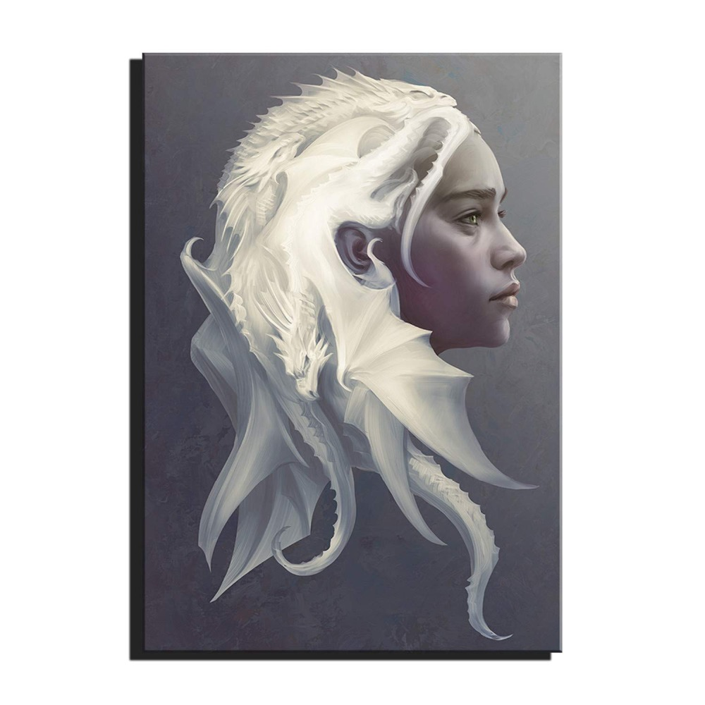 Us 5 45 48 Off Canvas Art Game Thrones Dragon Mother Daenerys Movie Poster Drawing Art Wall Decor Decoracion No Frame In Painting Calligraphy From