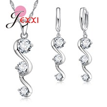 JEXXI Luxury 925 Sterling Silver CZ Crystal Wedding Bridal Jewelry Set For Women Brand Pendant Necklace Earrings Set