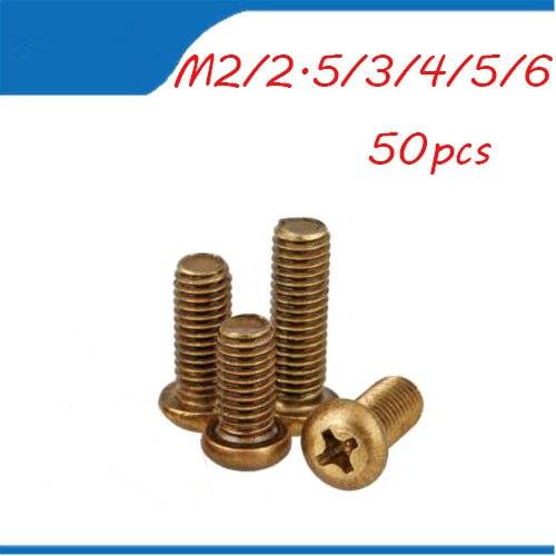 M6 Винт Бесплатная доставка круглой головкой латунь Медь 50 шт. M2 M2.5 M3 M4 M5 M6 Винты с цилиндрической головкой медь болт