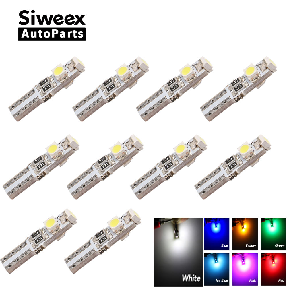 10pcs T5 LED Car Auto LED 3 Led Smd 3528 Wedge LED Light Bulb Lamp Dash Board Instrument White Pink Ice Blue Red Yellow Green