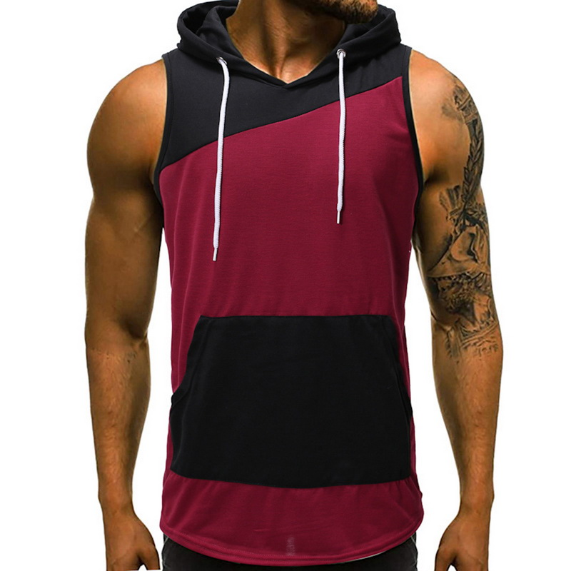 Summer Solid Sleeveless Hoodies   Tank     Top   Men O-Neck Patchwork Bodybuilding Ropa Hombre Causal Gym   Tank     Top   Slim Sport Singlet