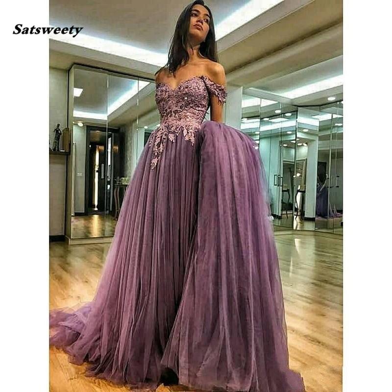 Off The Shoulder Bridesmaid Dresses 2019 A-line Tulle Lace Pearls Formal Islamic Dubai Kaftan Saudi Arabic Long Prom Gown