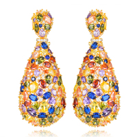 missvikki Handmade Noble Full colorful Cubic Zirconia Pendant Earrings for Women Bridal Wedding Party Show Earring Jewelry
