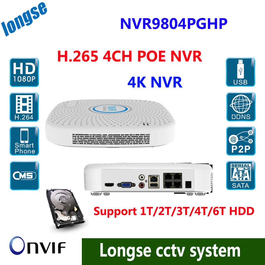 4CH H.265 POE NVR HDMI/VGA Output 4K Real Time 1SATA (MAX 6TB HDD) 2xUSB,9xRJ-45 Ethernet P2P, IE, VMS Remote View Smart Phone 16ch poe nvr 1080p 1 5u onvif poe network 16poe port recording hdmi vga p2p pc