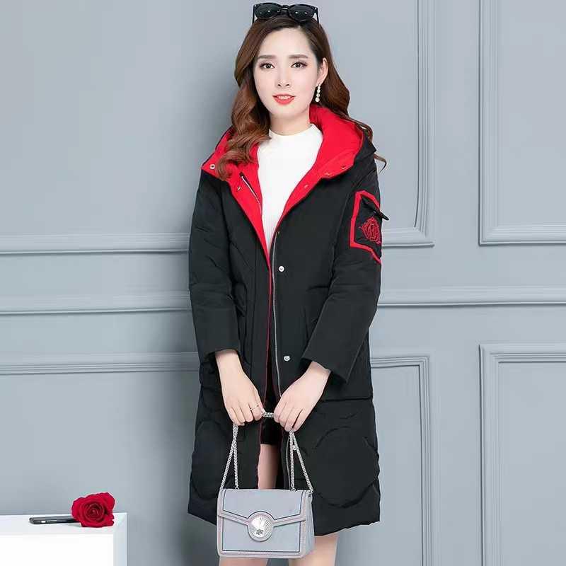 Épaississement black À red Black Coton Femelle Manteaux Red Pour D'hiver Hiver Manteau Capuchon 2018 Parkas Femmes Long Nouveau Veste ZaqCBOwY