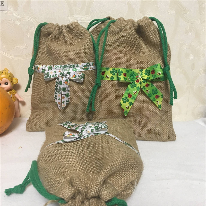 YILE 1pc Jute Hemp Burlap Drawstring Bag Clover Ribbon Bowknot Easter Party Favor 8117c