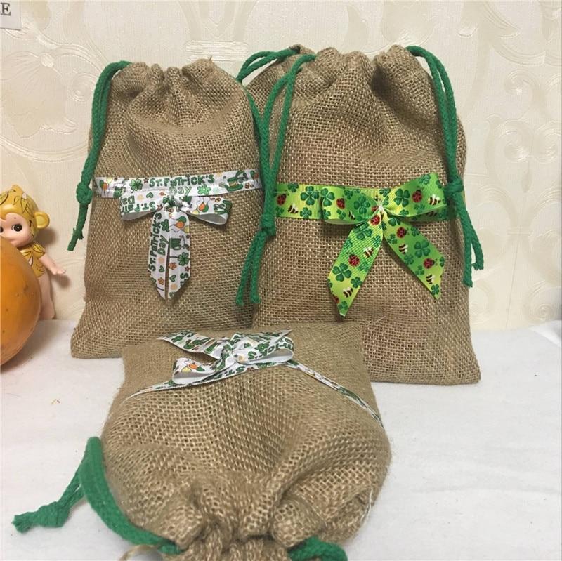 YILE 1pc Jute Hemp Burlap Drawstring Bag Clover Ribbon Bowknot Easter Party Favor 8117c