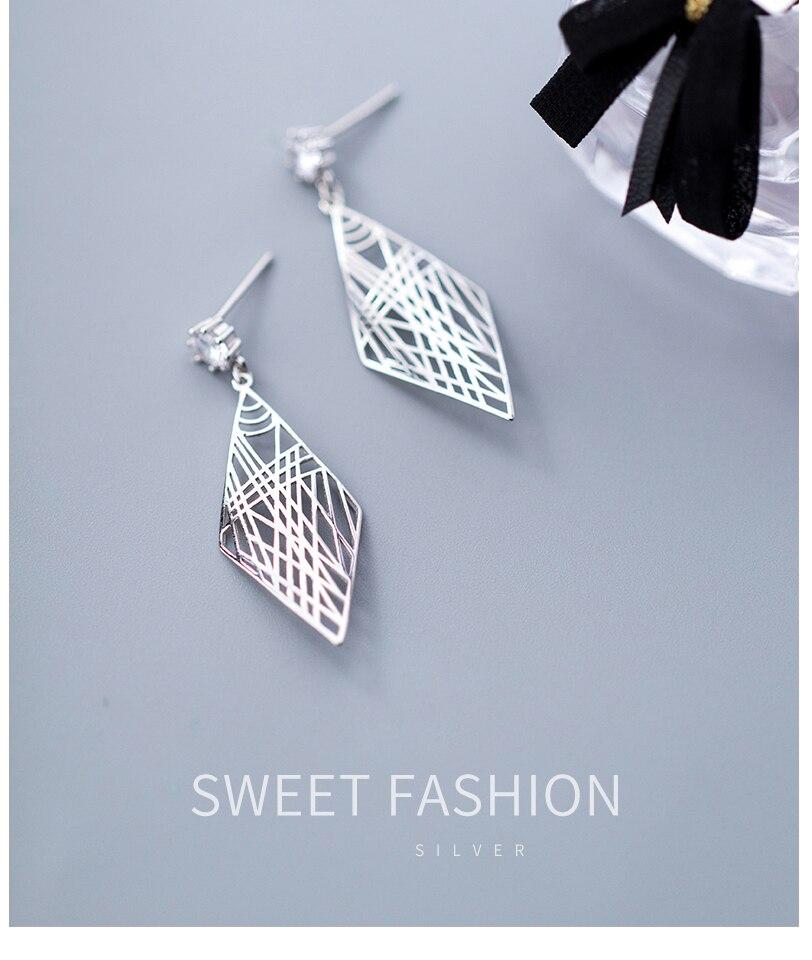 Popular Women 925 Silver Drop Dangle Earrings Jewelry For Girl Lady Party Engagement Gift Sterling Silver Geometric Earrings (2)