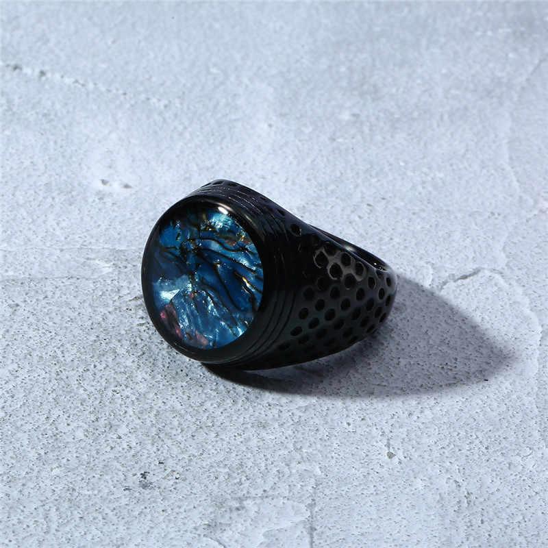 Mostyle 2019 новая брендовая панк винтажная черная синяя ракушка из нержавеющей стали плоское кольцо для мужчин
