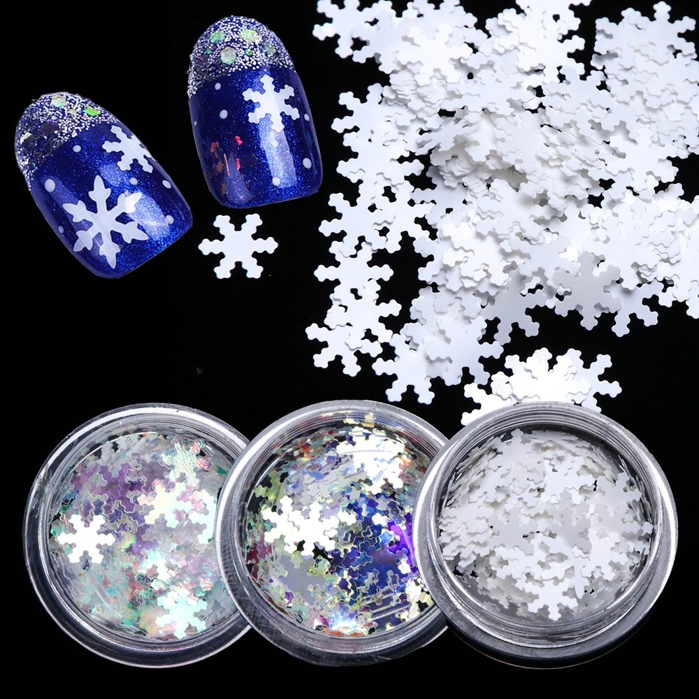 1 Box Christmas Nail Sequins Glitter 3D Nail Art Glitter Gel Holographic Laser Snowflakes AB Silver Manicure Decoration TRX1 30-in Nail Glitter from Beauty & Health
