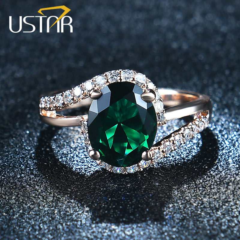 USTAR Oval Green 2.0ct CZ Crystals Vigselringar för kvinnor Micro Paved 30st AAA Zircon Förlovningsringar kvinnliga Anel Bague Femme