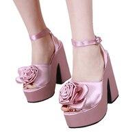 Sandalias Plataforma Mujer Pink Sandals Fashion Flower High Heels 14cm Square Heels Gladiator Sandals Women Comfy Platform Shoes