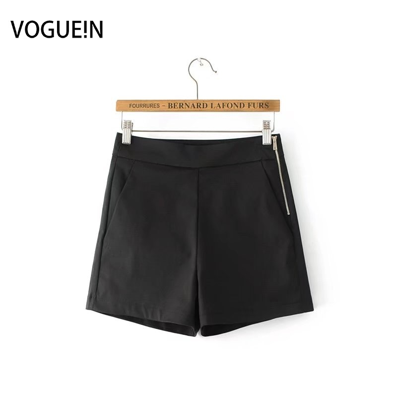 VOGUEIN New Womens Casual Solid Black/White/Yellow High Waist Pockets Zipper   Short   Pants   Shorts   Size SML Wholesale