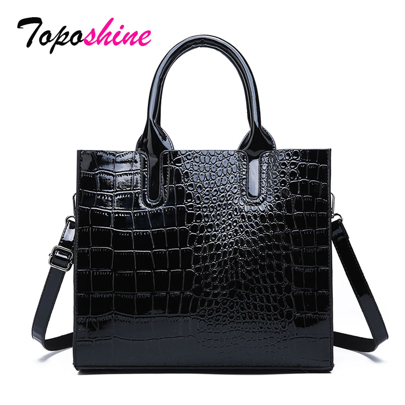Toposhine Ladies Handbag Crocodile-Pattern Messenger-Bag Wild-Shoulder Personality High-Quality