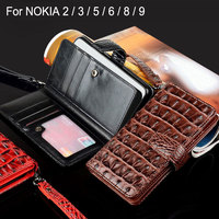 Case For Nokia 2 3 5 6 8 9 Coque Luxury Crocodile Snake Leather Flip Cover