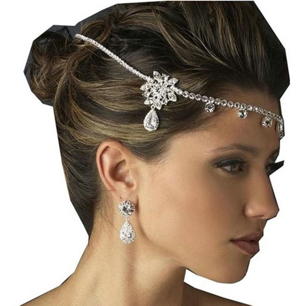 2015 Fashion Wedding Party Bride Tiara Crystal Rhineston Forehead Hairband Headchain Headband Hair Jewelry - Not Just a Deal store