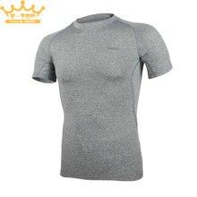 Gray – Men Shirts Base Layer Running Short Sleeves Gym Workout Shirts Fitness Training Clothing