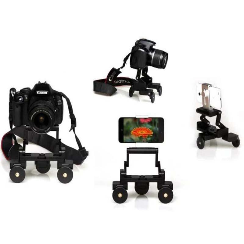 все цены на Mini desktop Photography Car Foldable portable 3 Wheel Video Movie Track Slider Table Dolly Car for Canon nikon sony DSLR camera