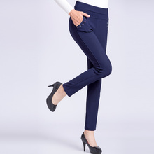 купить WAEOLSA Middle Aged Woman's Plain Colour Pant Red Khaki Blue Black Elastic High Waist Trouser Women Slim Fit Basic Pants Mother дешево
