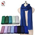 Ultra Thin Nepalese 100% Cashmere/Pasmina Solid Color Blue Scarf Shawl Muffler Soft Comfortable Factory Bulk Wholesale