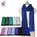Ultra Thin de Nepal 100% Cashmere/Pasmina Azul Color Sólido Bufanda Del Silenciador Del Mantón Suave Cómodo Fábrica Al Por Mayor A Granel