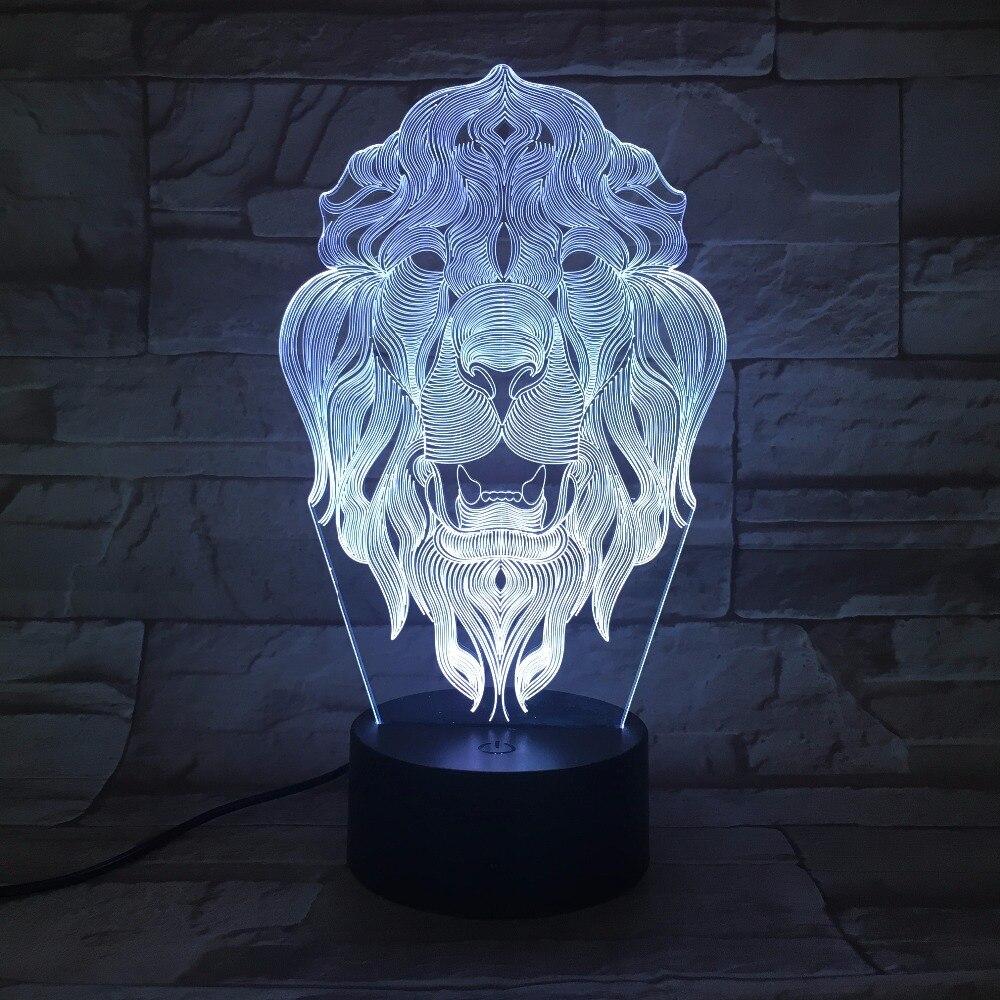Led Lights Ender 3: Lion Face Night Light 7 Color Changing Animal LED Night