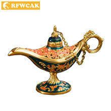 Dropshopping Aladdin Magic Lamp Wishing Light Tin Alloy Hollow Out Tea Pot Genie Lamp Vintage Toy Home Decoration Gifts Crafts(China)