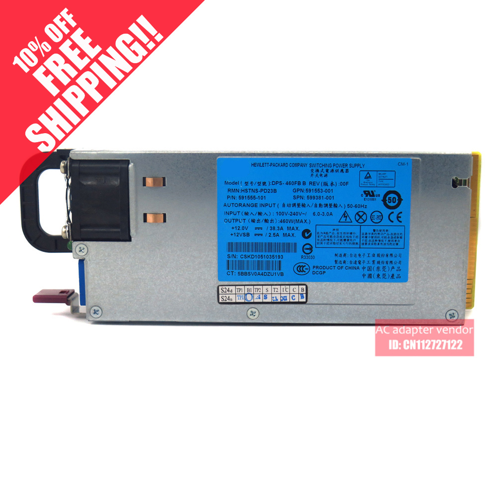 все цены на FOR HP DL180 380G6 460W Server Platinum power supply 591553-001 599381-001 онлайн