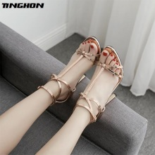 TINGHON  Sexy Shoes Women Gladiator Sandals High Heels T-Strap Fashion Summer Party Wedding Pumps