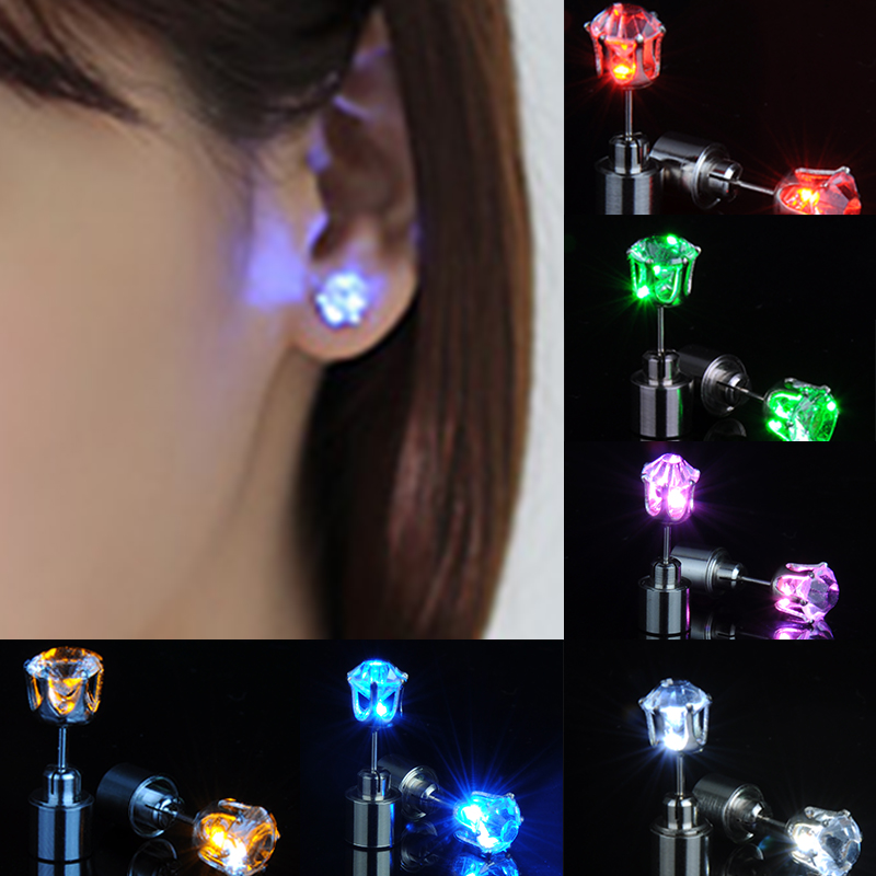1pair Charm LED Earring Light Up Crown Glowing Crystal Stainless Ear Drop Ear Stud Earring Jewelry For women Christmas gifts