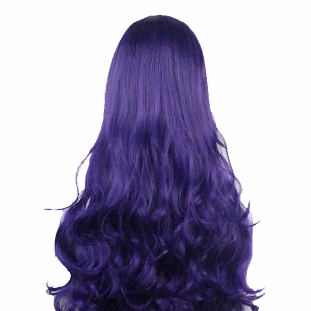 Uzun Ombre Kahverengi Kül Sarışın Yüksek Yoğunluklu Sıcaklık Sentetik Peruk Siyah/Beyaz Kadınlar Tutkalsız Dalgalı kostümlü oyun saç peruk