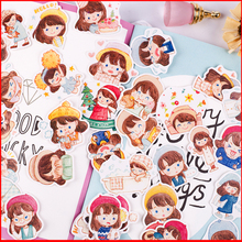 40 pcs hat girl personalized scrapbook Stickers scrapbooking material sticker happy planner decoration craft