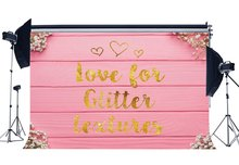 Sweet Baby Shower Backdrop Golden Glitter Backdrops Fresh Flowers on Painted Stripes Wood Board Photography Background