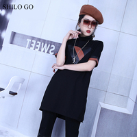HILO GO Leather Dress Womens Summer Fashion Sheepskin Genuine Leather Dress Turtleneck Short Sleeve Geometry Patchwork