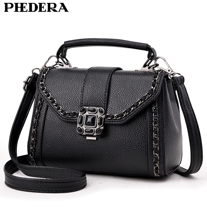 PHEDERA Brand Summer Chains Women Messenger Bags Fashion PU Leather Small Female Ladies Tote Handbags Black Women Crossbody Bag